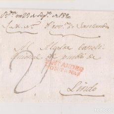 Sellos: PREFILATELIA. ENVUELTA DEL S.M.N. SANTANDER AL ALCALDE CONSTITUCIONAL DE LINDO. CANTABRIA.. Lote 178852268