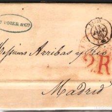 Sellos: CARTA PREFILATELICA 1850 COMPLETA DE PARIS A MADRID. Lote 180224928