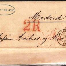 Sellos: CARTA PREFILATELICA 1850 COMPLETA DE PARIS A MADRID. Lote 180225010