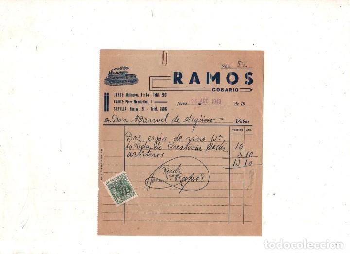 COSARIO. RAMOS. JEREZ, CADIZ, SEVILLA. 1943. (Filatelia - Sellos - Prefilatelia)
