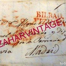 Sellos: 1839, CARTA COMPLETA DIRIGIDA DESDE BILBAO A MADRID, MARCA CONGRESO DE LOS DIPUTADOS, TOP RARA. Lote 181415177