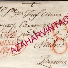 Sellos: 1817, CARTA PREFILATELICA DE VALENCIA A ZAMORA, DIRIGIDA A UN CANONIGO DE LA CATEDRAL. Lote 181690023