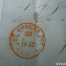 Sellos: CARTA PREFILATELICA ENERO DE 1846 CON SELLO CORUÑA 20 ENERO 1847 A DOBLE HOJA MANUSCRITA DIRIGIDA AL. Lote 182211427