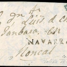 Timbres: 1842. ESTELLA A RONCAL. MARCA NAVARRA LINEAL. PORTEO 5 CUARTOS AZUL. INTERESANTE USO TARDÍO.. Lote 182248851