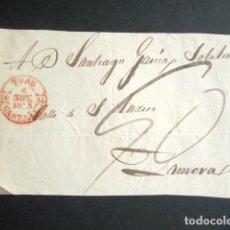Sellos: AÑO 1845. FRONTAL DE TORO A ZAMORA. MARCA BAEZA EN ROJO. PREFILATELIA. . Lote 182995755