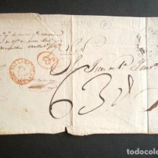 Sellos: AÑO 1857. PLICA JUDICIAL DE VALLADOLID A TORO S.N. MARCA BAEZA ROJO Y MARCA ABONO AB EN ROJO. . Lote 182996825