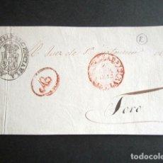 Sellos: AÑO 1853. PLICA JUDICIAL VALLADOLID-TORO, FRONTAL. MARCA NEGRO REGENCIA. BAEZA ROJO. ABONO AB ROJO. . Lote 182997341