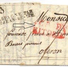 Sellos: VITORIA 1829 - MARCA DE CERTIFICADO EN ROJO - DESTINO FRANCIA - MARCAS EN TRANSITO Y PORTES. Lote 199448132
