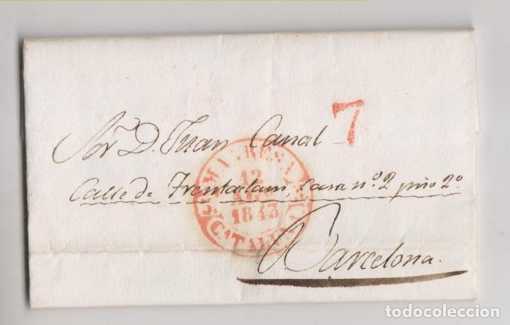 PREFILATELIA. CARTA ENTERA. MANRESA A BARCELONA. 1843. BONITO BAEZA (Filatelia - Sellos - Prefilatelia)
