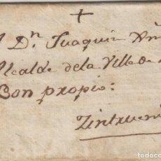 Sellos: PREFILATELIA NAVARRA AÑO 1808 TUDELA /CINTRUENIGO- . CARTA COMPLETA . Lote 190645031
