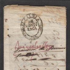 Francobolli: CARTA MONTUENGA ( SEGOVIA) AÑO 1853 . SELLO DE LA ALCADIA /AYUNTAMIENTO ESCRITO SOBRE DEFUNCIÓN. Lote 191128320
