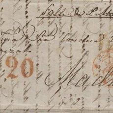 Francobolli: ESPAÑA 1853 CARTA DE VALENCIA A MADRID, BAEZA Y PORTE 20 EN ROJO. Lote 191571980