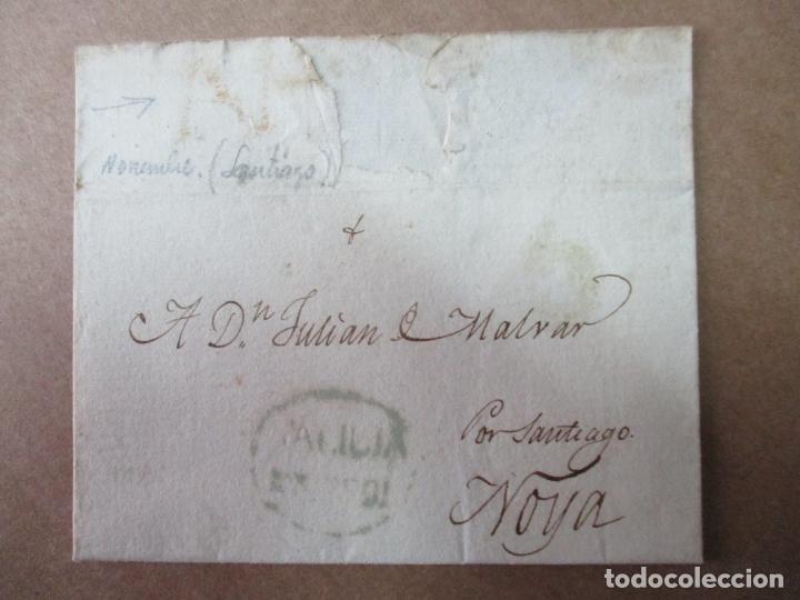 ENVUELTA CIRCULADA 1824 DE FERROL NOYA SANTIAGO CON MARCA DE GALICIA (Filatelia - Sellos - Prefilatelia)