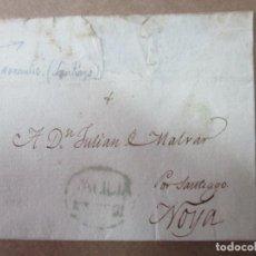 Sellos: ENVUELTA CIRCULADA 1824 DE FERROL NOYA SANTIAGO CON MARCA DE GALICIA. Lote 191601646