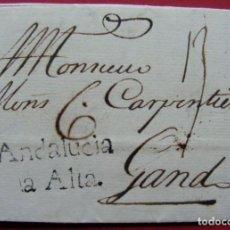 Sellos: CARTA PREFILATELIA 1757 CÁDIZ A GANTE.. Lote 192944962