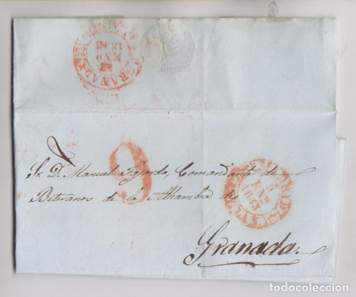 PREFILATELIA. CARTA ENTERA. MADRID, 1843. AL COMANDANTE. DE VETERANOS DE LA ALHAMBRA, GRANADA (Filatelia - Sellos - Prefilatelia)