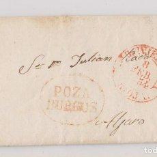 Sellos: PREFILATELIA. CARTA ENTERA. POZA, BURGOS. MARCA Y BAEZA DE BRIVIESCA. 1854. Lote 194090968