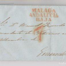 Sellos: PREFILATELIA. CARTA ENTERA DE MÁLAGA. AL COMANDANTE DE VETERANOS DE LA ALHAMBRA, GRANADA.. Lote 194091517