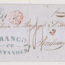 Sellos: PREFILATELIA. CARTA ENTERA. SANTANDER FRANCO. 1841. CANTABRIA. LUJO. Lote 194531131