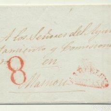 Sellos: CARTA DE BARCELONA A MASNOU (A LOS SEÑORES DEL AYUNTAMIENTO Y COMISIONADOS) DEL 22-12-1841. CON MARC. Lote 194681508