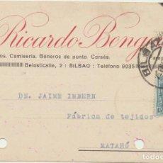 Sellos: TARJETA POSTAL CON MEMBRETE. DE BILBAO A MATARÓ, DEL 27-ENE-1927. FRANQUEADO CON EDIFIL 315. Lote 194681510