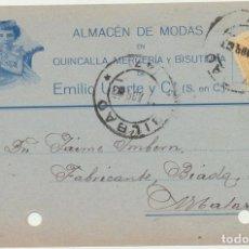 Sellos: TARJETA COMERCIAL CON MEMBRETE. DE BILBAO A MATARÓ DEL 11-ABRIL 1923. Lote 194681517