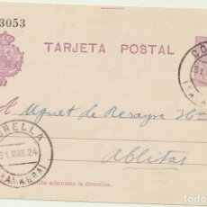Sellos: ESPAÑA. ENTERO POSTAL. (15 C.) DE CORELLA A ABLITAS DEL 31-MARZO-1924. EDIFIL 50. Lote 194681520