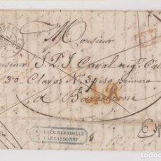 Sellos: PREFILATELIA. CARTA FRANCA. CARCASONNE, FRANCIA, A BARCELONA. 1844. Lote 194736867