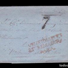 Sellos: *** PRECIOSA CARTA DE FUENTE DEL MAESTRE A VALENCIA DEL VENTOSO POR ZAFRA. PORTEO 7 ***. Lote 194953683