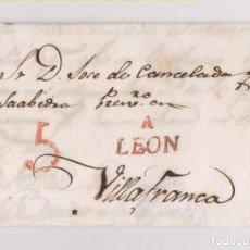 Sellos: PREFILATELIA. CARTA ENTERA ASTORGA A VILLAFRANCA DEL BIERZO. LEÓN. 1833. LUJO. Lote 195065458