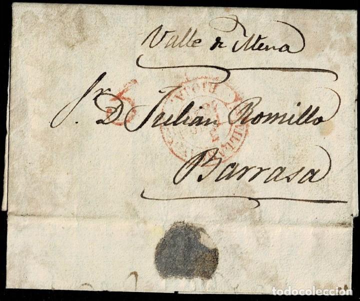1847. VILLARCAYO A BARRASA. FECHADOR ROJO Y PORTEO 5 CUARTOS. MUY BONITA Y RARA. (Filatelia - Sellos - Prefilatelia)