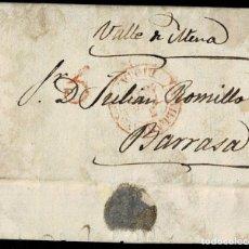 Sellos: 1847. VILLARCAYO A BARRASA. FECHADOR ROJO Y PORTEO 5 CUARTOS. MUY BONITA Y RARA.. Lote 195271552