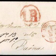Sellos: 1850. ANTEQUERA A BARCELONA. FECHADOR ROJO Y PORTEO 1R REALES CIRCULAR ROJO. BONITA.. Lote 195271845