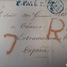 Sellos: CARTA DE PARIS A CACERES AÑO 1834 VER ESTADO EN FOTOGRAFIAS C245. Lote 197883847