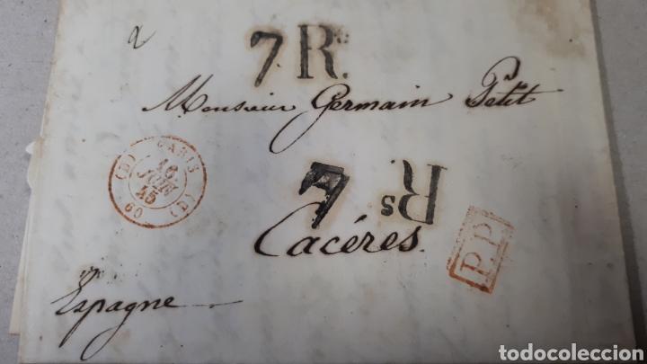 CARTA DE PARIS A CACERES AÑO 1845 VER ESTADO EN FOTOGRAFIAS C246 (Filatelia - Sellos - Prefilatelia)
