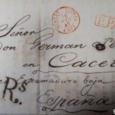 Sellos: CARTA DE PARIS A CACERES AÑO 1843 VER ESTADO EN FOTOGRAFIAS C249. Lote 197883887