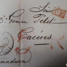 Sellos: CARTA DE NAYONA A CACERES AÑO 1835 VER ESTADO EN FOTOGRAFIAS C254. Lote 197883945