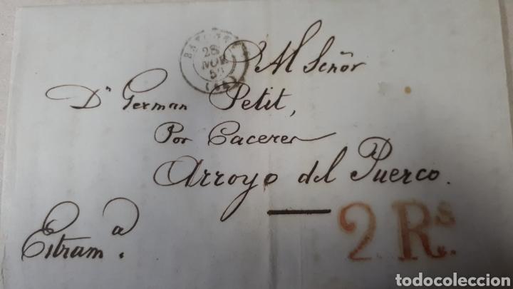 CARTA DE BAYONA A CACERES AÑO 1850 VER ESTADO EN FOTOGRAFIAS C261 (Filatelia - Sellos - Prefilatelia)