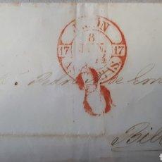 Sellos: SOBRE DE GIJON A BILBAO A CACERES AÑO 1844 C263. Lote 197905755
