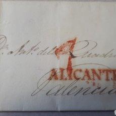Sellos: CARTA DE ALICANTE A VALENCIA AÑO 1833 C275. Lote 197916491