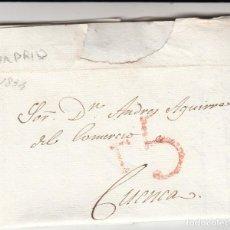 Sellos: PREFILATELIA CARTA COMPLETA DE MADRID A CUENCA -1834 -PORTEO T 5 ----DE NEGOCIO DE PINOS . Lote 199155397