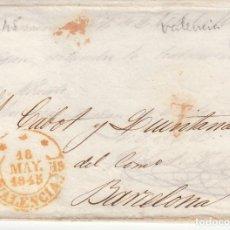Sellos: PREFILATELIA - CARTA COMPLETA DE VALENCIA -1845 - DESTINO BARCELONA . Lote 199214283