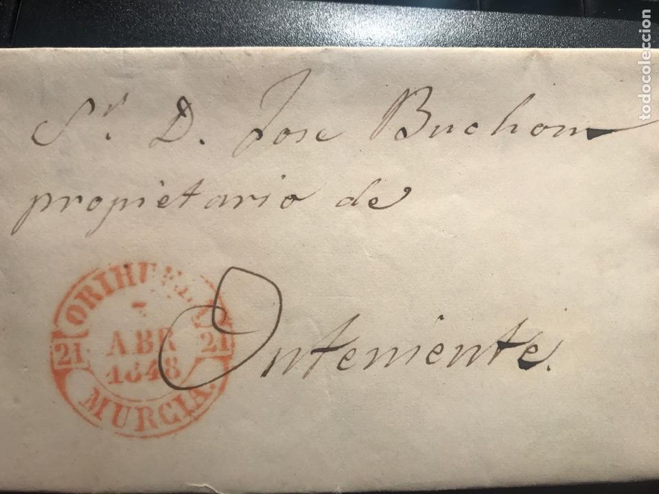 PREFILATELIA. ORIHUELA. MURCIA. ONTENIENTE. 1848 (Filatelia - Sellos - Prefilatelia)