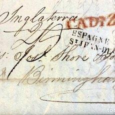 Sellos: 1834. CADIZ-BIRMINGHAM. ENVUELTA COMPLETA.. Lote 200764666