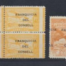Francobolli: ANDORRA 1932. HABILITADOS FRANQUICIA DEL CONSELL EDIFIL NE26, NE30 (2) NE34 Y NE35 **. Lote 201308037
