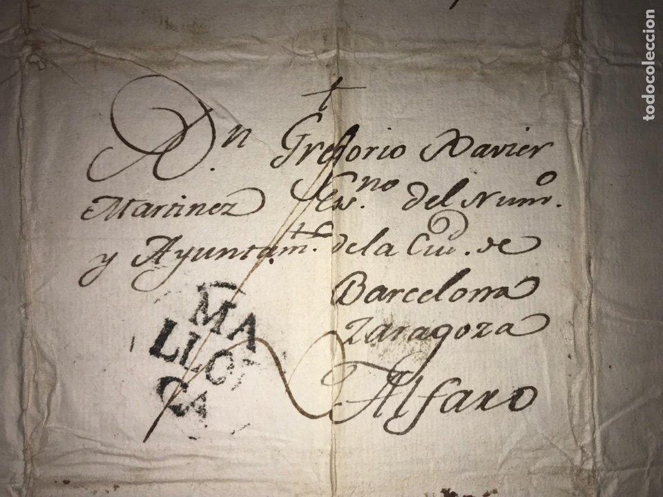 Sellos: 1803. MARCA PREFILATÉLICA. MALLORCA A ALFARO POR BARCELONA Y ZARAGOZA. ENVUELTA Y CARTA. - Foto 2 - 201902035