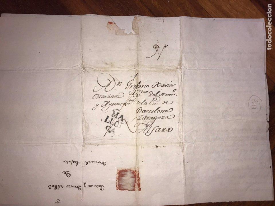 Sellos: 1803. MARCA PREFILATÉLICA. MALLORCA A ALFARO POR BARCELONA Y ZARAGOZA. ENVUELTA Y CARTA. - Foto 3 - 201902035