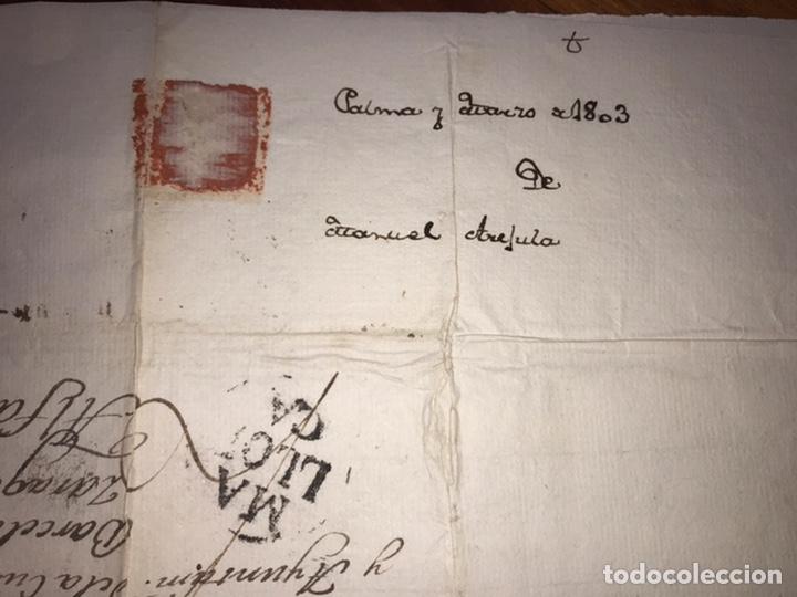 Sellos: 1803. MARCA PREFILATÉLICA. MALLORCA A ALFARO POR BARCELONA Y ZARAGOZA. ENVUELTA Y CARTA. - Foto 4 - 201902035