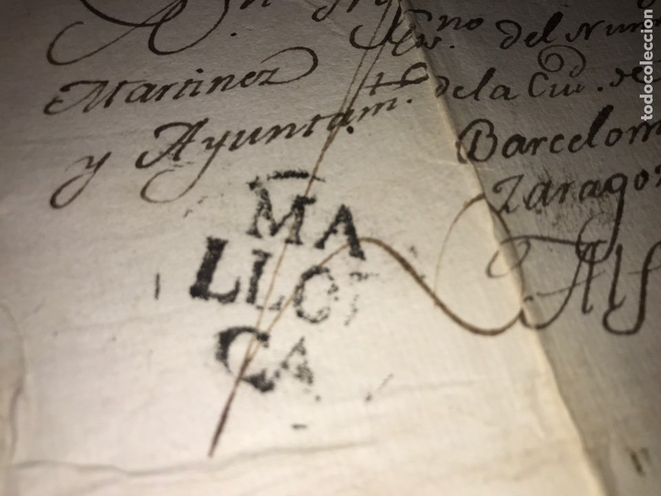1803. MARCA PREFILATÉLICA. MALLORCA A ALFARO POR BARCELONA Y ZARAGOZA. ENVUELTA Y CARTA. (Filatelia - Sellos - Prefilatelia)