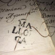 Sellos: 1803. MARCA PREFILATÉLICA. MALLORCA A ALFARO POR BARCELONA Y ZARAGOZA. ENVUELTA Y CARTA.. Lote 201902035